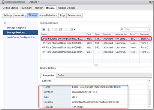 After upgrading vSphere 4 to 5 the Fusion-IO card is in minimal mode