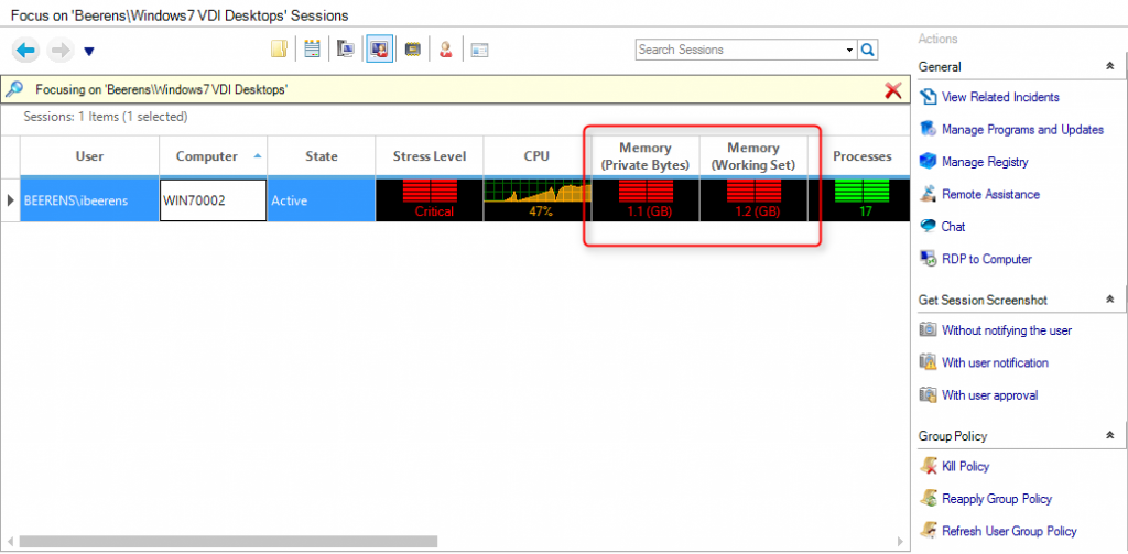 view session monitoring memory