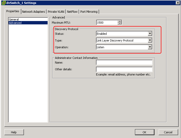 Configure the Link Layer Discovery Protocol (LLDP) in vSphere 5
