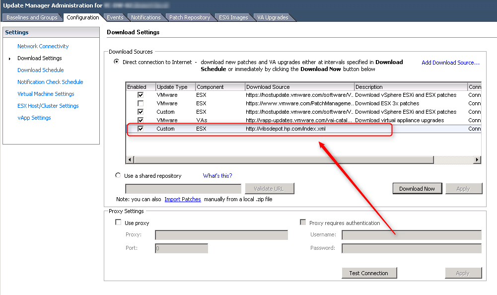 Add HP or Dell drivers to VMware Update Manager (VUM