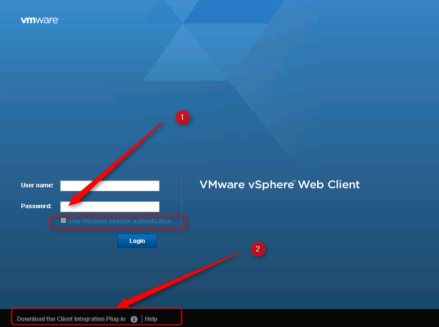 "In the vSphere Web Client the ""Use Windows session"