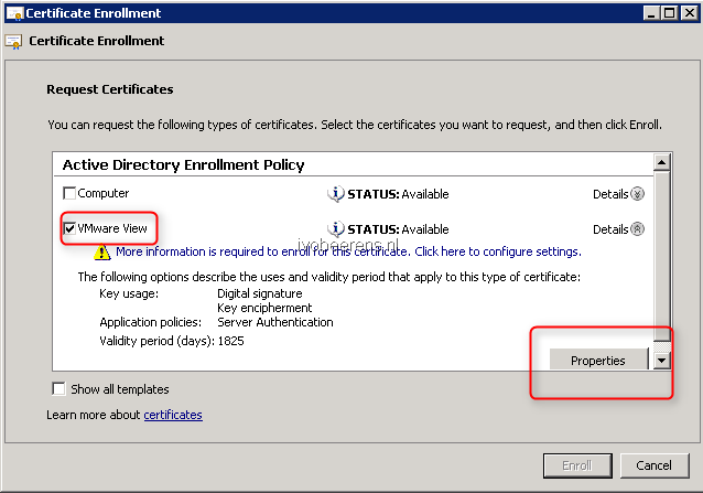 Create a signed certificate for VMware View Connection Servers using
