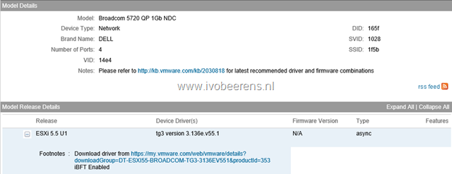 Identify NIC driver and supported driver version for ESXi