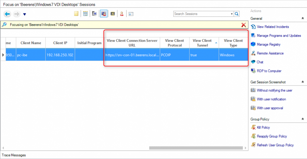 view specific session settings