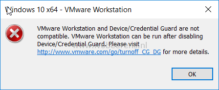 VMware Workstation Device/Credential Guard are not compatible